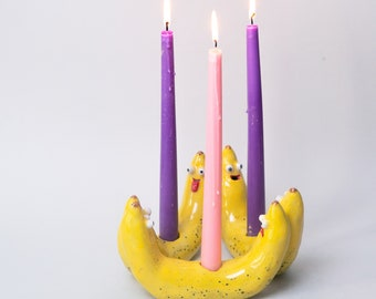 Handmade Ceramic Banana Candelabra Glazed Googly Eyes Tongue Fruit Kawaii Cute Candleholder Candlestick
