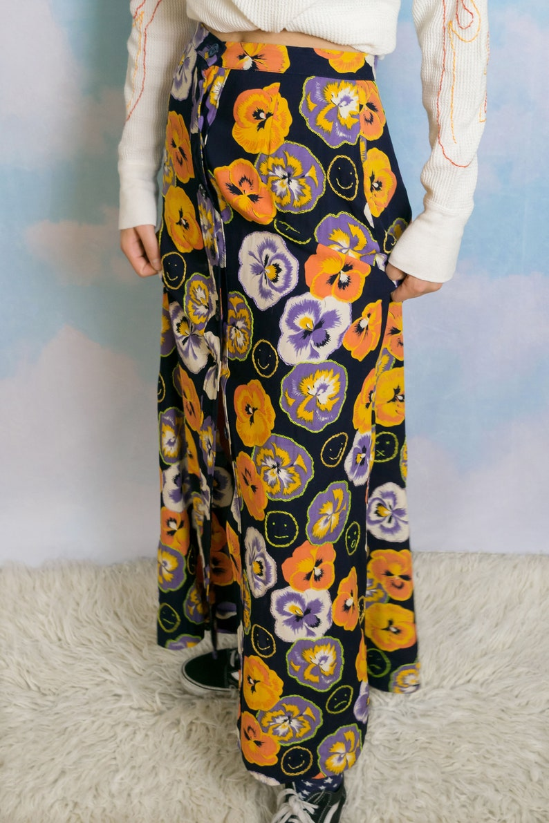 Reality Bites Hand Embroidered Emoji Floral Pansy Long Skirt, 90s Flower  Pansy Happy Face Sad Girl Recycled Black Slit Maxi