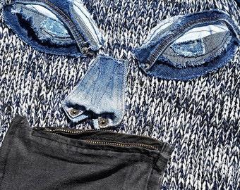 original jean sleeves sweater