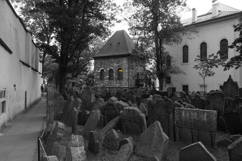 Selective color Holocaust memorial cemetery in Prague