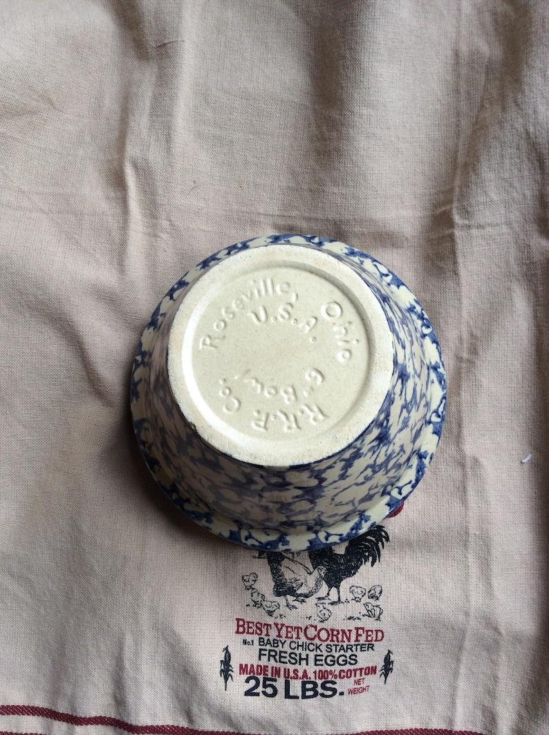 Roseville blue farmhouse sponge ware bowl