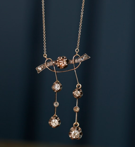 14K Gold Victorian Necklace with Rose and White D… - image 1