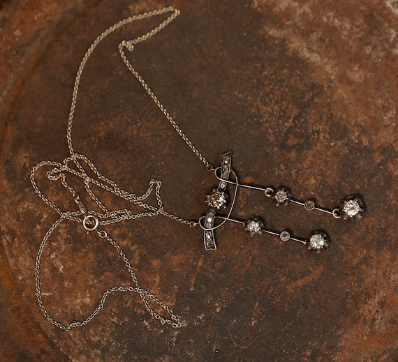 14K Gold Victorian Necklace with Rose and White D… - image 2