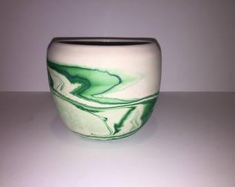 Vintage Green Swirl Nemadji Pottery