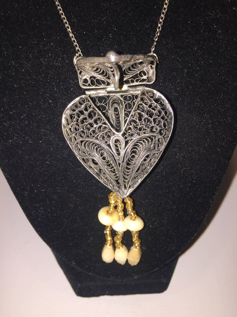 Vintage Filigree Heart Prayer Basket Chatelaine Purse Necklace