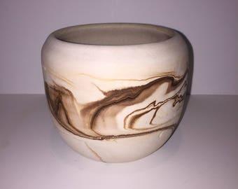 Vintage Brown Swirl Nemadji Pottery