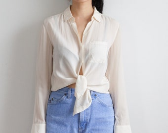 5a59345f38c963 cream silk blouse   ivory sheer minimalist blouse   90s silk long sleeve  top   size s