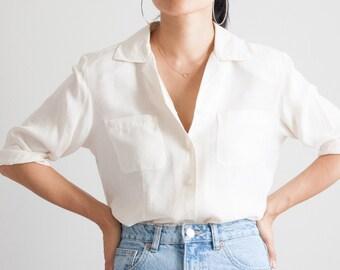 90s minimal cream silk blouse / 3/4 sleeves / minimalist button down shirt / v neck / size M