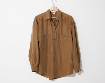 40958126cd786d simple vintage brown silk blouse / 90s minimalist blouse / breast pockets /  loose fit / fits s m