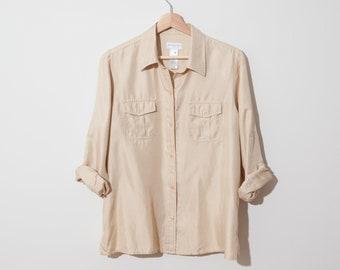 b3254157 beige silk blouse / cream 90s minimalist blouse / loose fit / size petite M  / fits s m