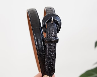 2 Womens Rectnagle Buckle on Quality Ostrich Embossed Leatherette Belt Strap