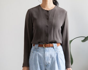 brownish silk blouse  90s blouse  loose fit  minimalist  size s  fits s m