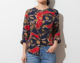 d7f8846dabc2a3 vintage 80s abstract print silk blouse   crew neck   button down   fits xs s