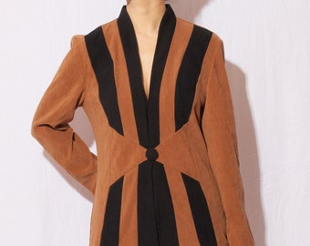 unique vintage 70s 80s striped blazer jacket /  brown & black / artsy /  fits s-m