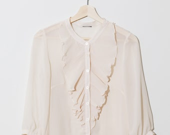 d623e9a607dbae SALE// Sheer blouse / Vintage ivory ruffle blouse / victorian style /  steampunk blouse / cream off white / flowy lightweight / fits xs s
