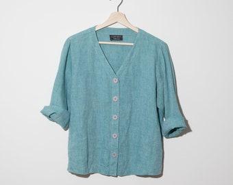 vintage linen blouse / jacket / turquoise light blue / carol anderson / buttoned shirt / v-neck / fits s-m