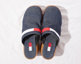9913a5662e6f71 Vintage 90s Tommy Hilfiger logo clogs mules   Vintage denim wood heel shoes   chunky wood mules   90s denim sandal   SZ 8M 38.5   8.5 39