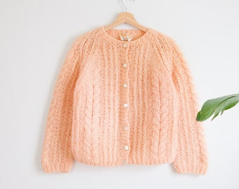 50s or 60s rockabilly peach tone hand-knit cardigan sweater / made in Italy / fits like size 40 small