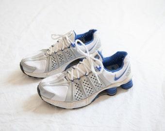 buy online ad56d 13e7d Rare vintage Nike SHOX sneakers   men running shoes   blue white silver    chunky hipster sneaker   men size 8.5 US 42 EU