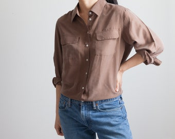 d8a760fc38495c vintage brown silk blouse   90s minimalist button down   breast pockets    loose fit   fits like s m
