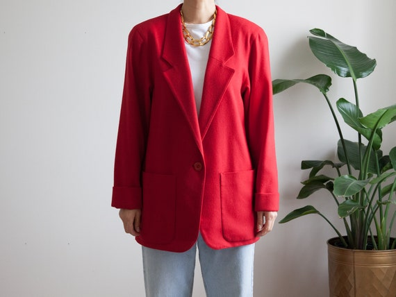 minimal red wool blazer / oversized fit / lined &