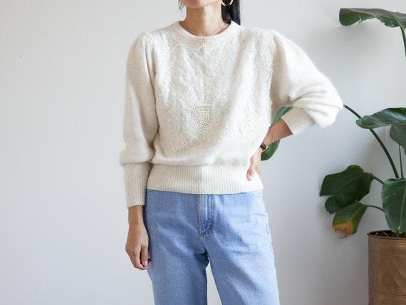 cream angora wool knit sweater / puff sleeve sequi