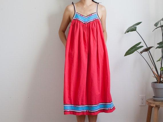 red boho tank dress / festival summer dress / beac