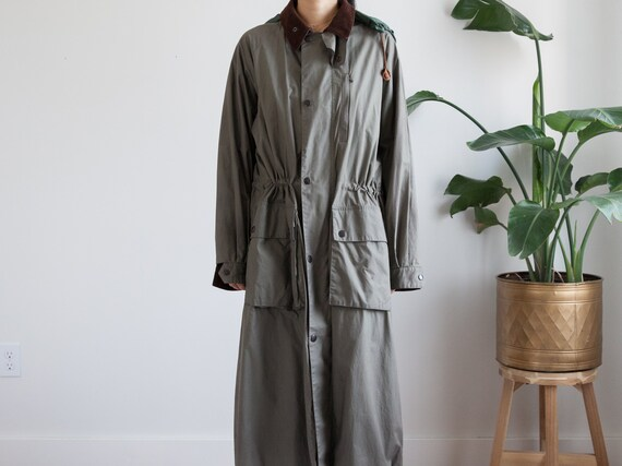 vintage olive green maxi trench coat / corduroy co