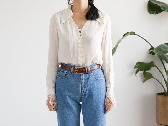ivory sheer silk blouse laced cuffs / boho peasant