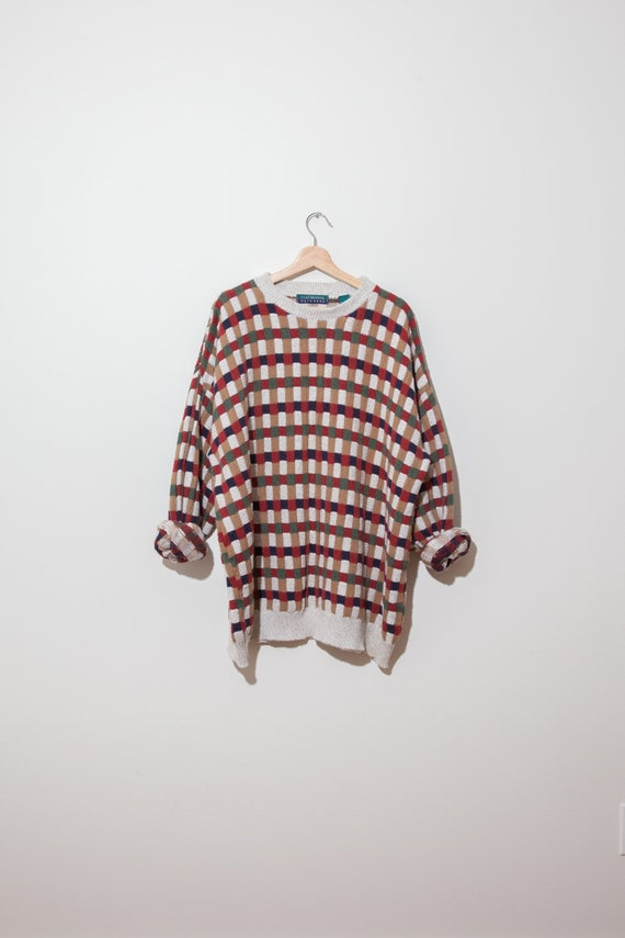 30a02af4ad831d Vintage beige red oversized slouchy check knit sweater