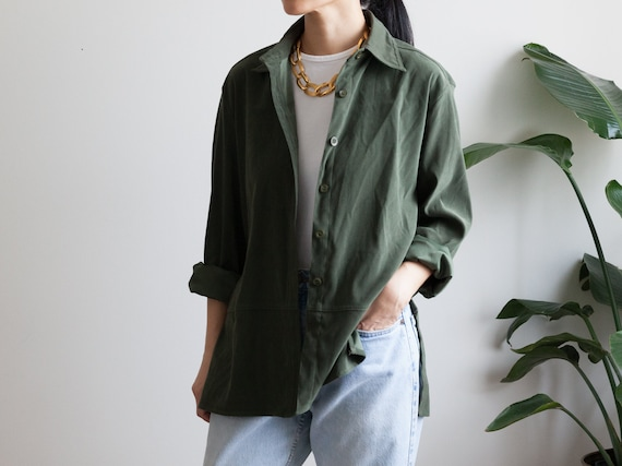 forest green faux suede blouse shirt / button down