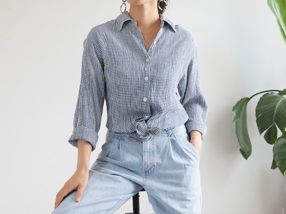 Vintage Midnight Blue Iridescent Crinkle Satin Long Sleeve Button Up Collared Shirt Blouse