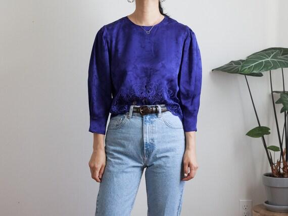 vintage 80s purple silk top / buttoned back blouse