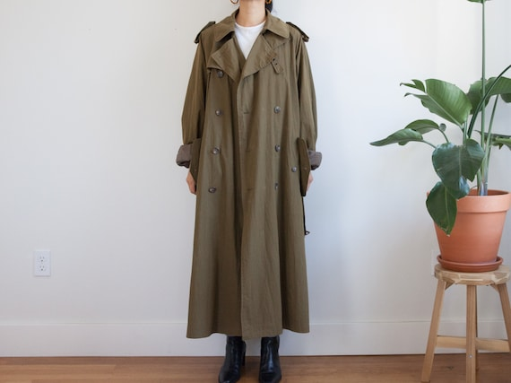 vintage olive green trench coat / army green 90s o
