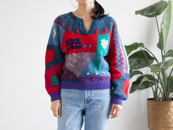 vintage hand knit colorful scenic wool sweater / … - image 1