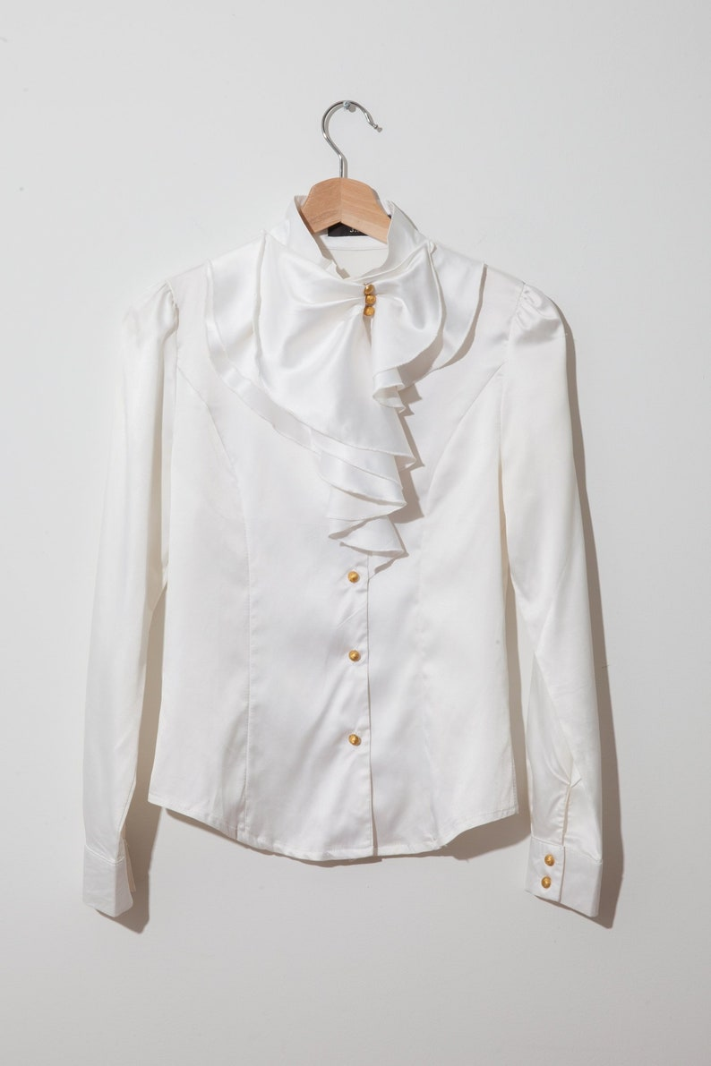 6c5ed7e0c Vintage shiny ruffle collar blouse / ivory cream / fitted | Etsy