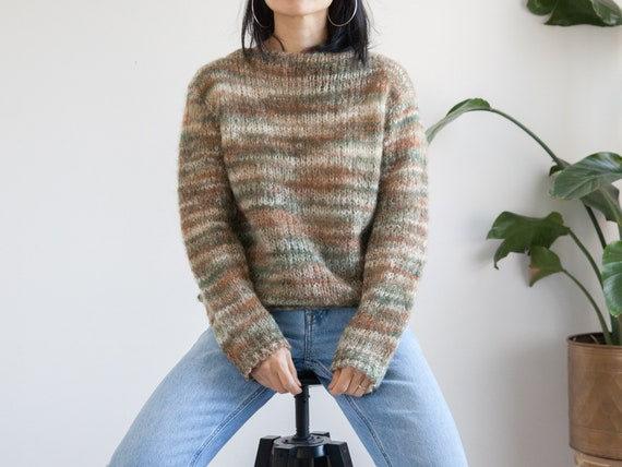 50s 60s hand knit olive green mohair blend sweater