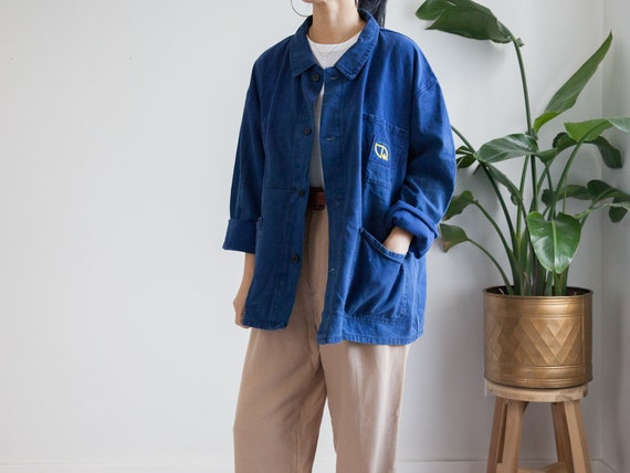 vintage blue cotton french chore jacket / 40s-60s