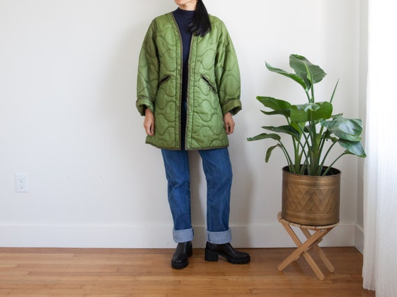 vintage green quilted liner army coat jacket  / ul