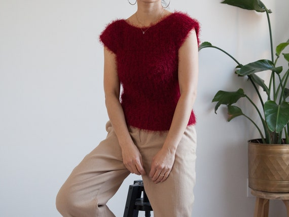 cranberry red fuzzy knit vest / sleeveless top / f