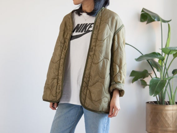 vintage army green quilted liner jacket / unisex /