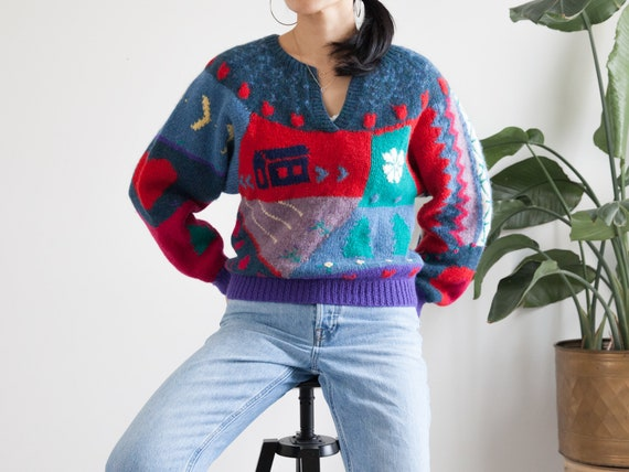 vintage hand knit colorful scenic wool sweater / … - image 6