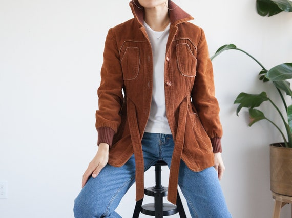 70s brown corduroy jacket coat / waist belt, pocke