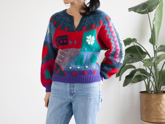 vintage hand knit colorful scenic wool sweater / … - image 3