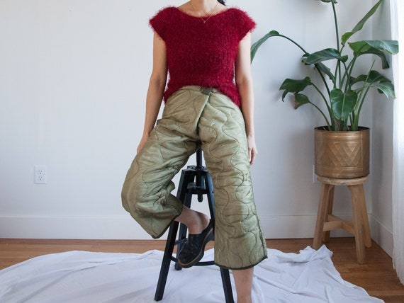"""waist 32""""-34"""" / olive green army liner cropped pan"""
