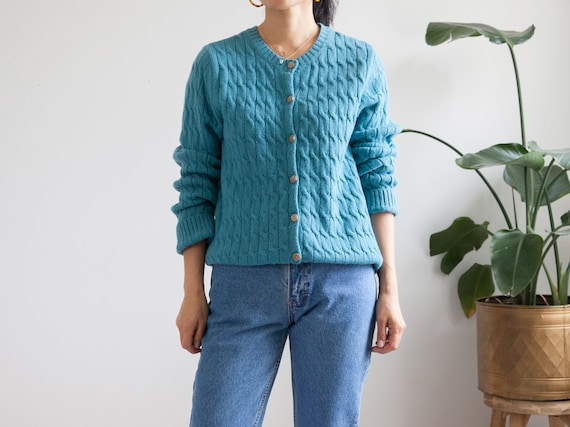 teal cardigan cable knit cardigan sweater / wool s