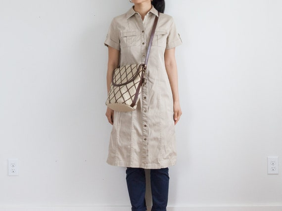 beige button down dress / safari khaki shirt dress