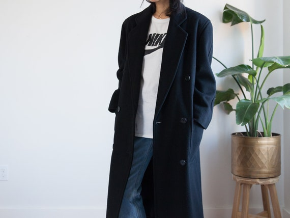 vintage 90s long black wool trench coat / double b