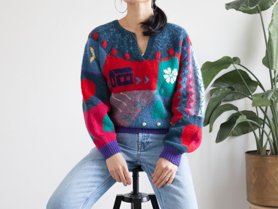vintage hand knit colorful scenic wool sweater / … - image 5