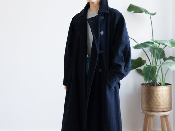 vintage 90s oversized navy wool trench coat / doub